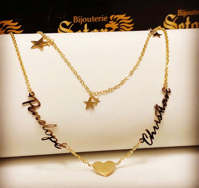Heart & stars Double chain family necklace NC031 - Bijouterie Setor
