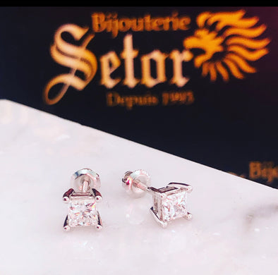 Princess cut II diamond earrings DE016 - Bijouterie Setor