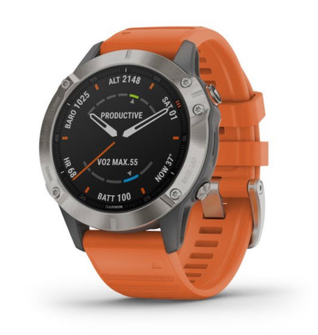 Garmin Fenix 6 Pro Sapphire Edition (Titanium with Ember Orange Band)