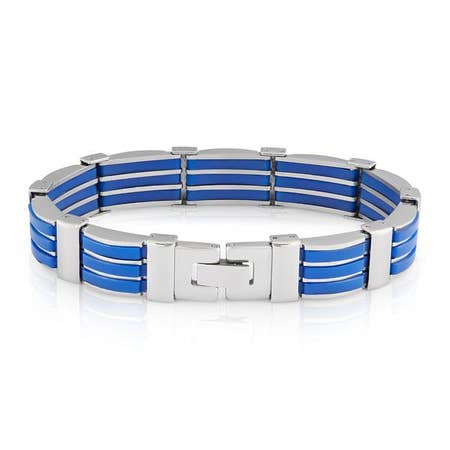 Two-tone Blue Rubber Bracelet