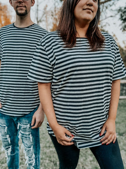 Oversized Striped Tee- Black/Gray
