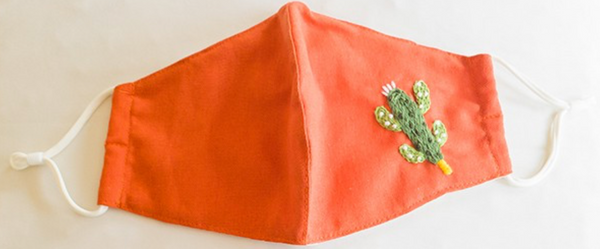 Embroidered Face Mask: Red with Cactus