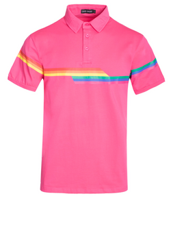 Pride Rainbow Striped Polo- Pink