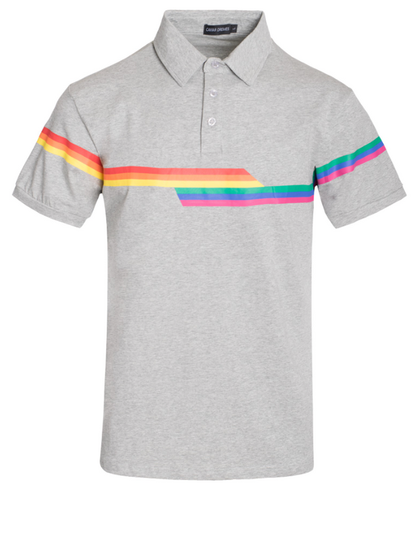 Pride Rainbow Striped Polo- Gray