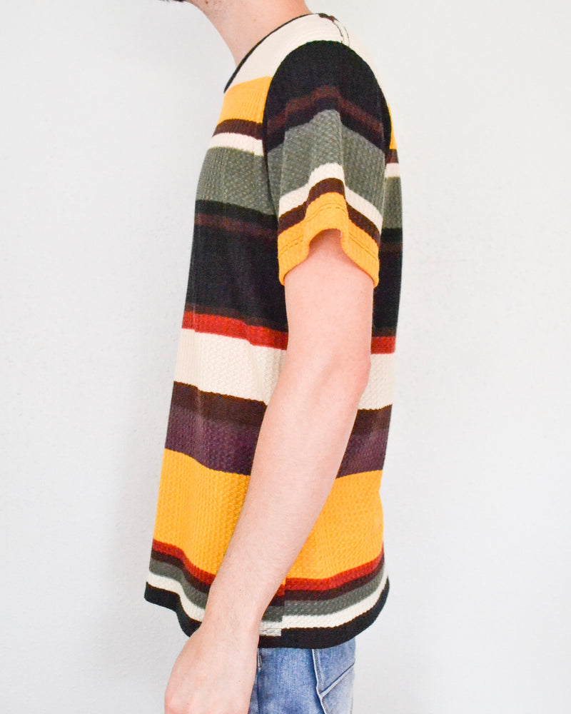 Multi-Colored Striped Waffle Tee