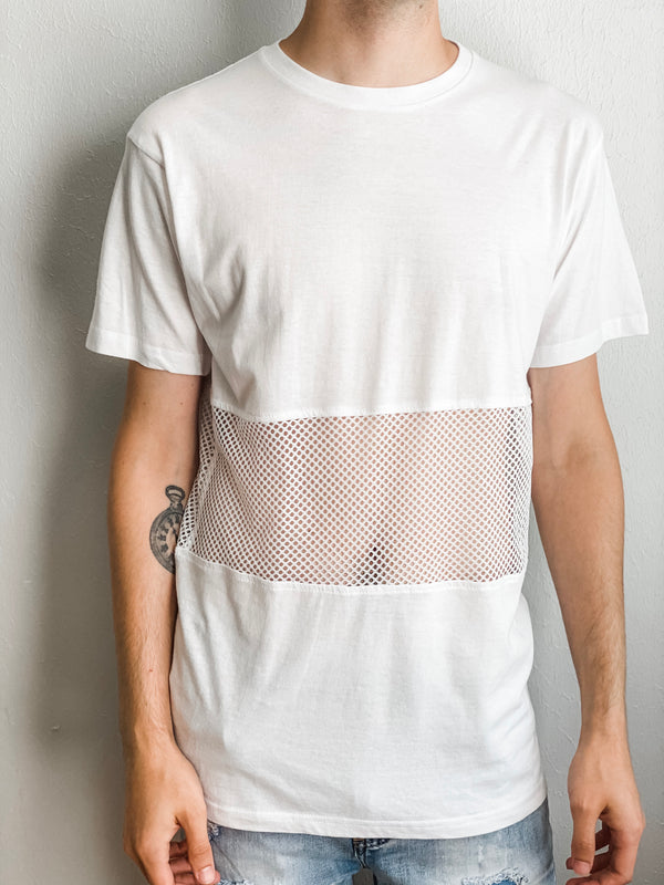 Cotton And Mesh Crew Neck Tee - White