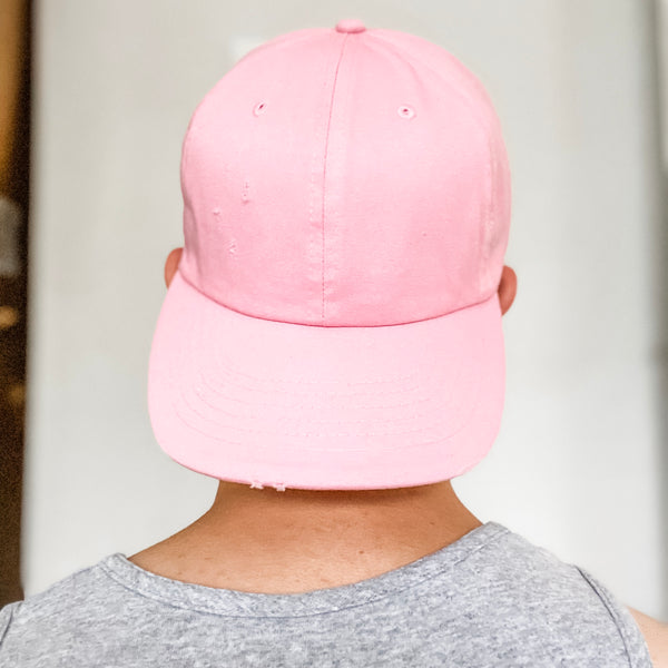 Distressed Vintage Baseball Hat- Light Pink