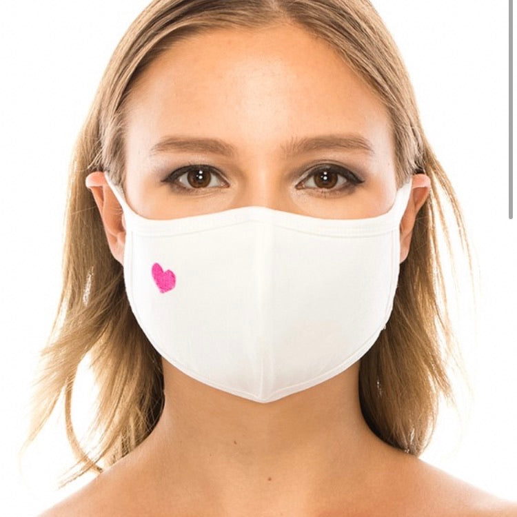 Cotton Face Mask: White with Pink Heart