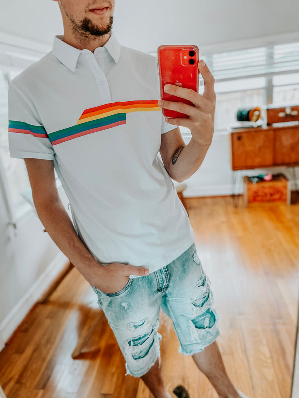 Pride Rainbow Striped Polo- White
