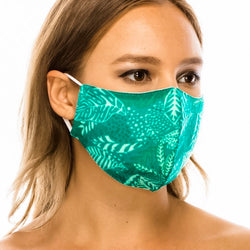 Cotton Face Mask: Green Leaf