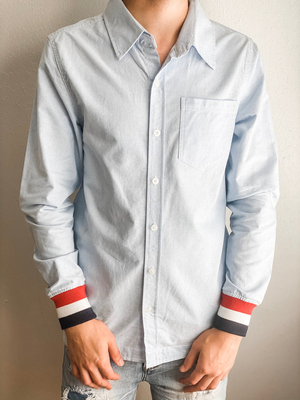 Oxford Ribbed Button Down- Blue