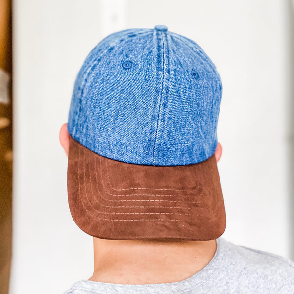Brown Suede Visor Denim Baseball Cap Hat- Dark