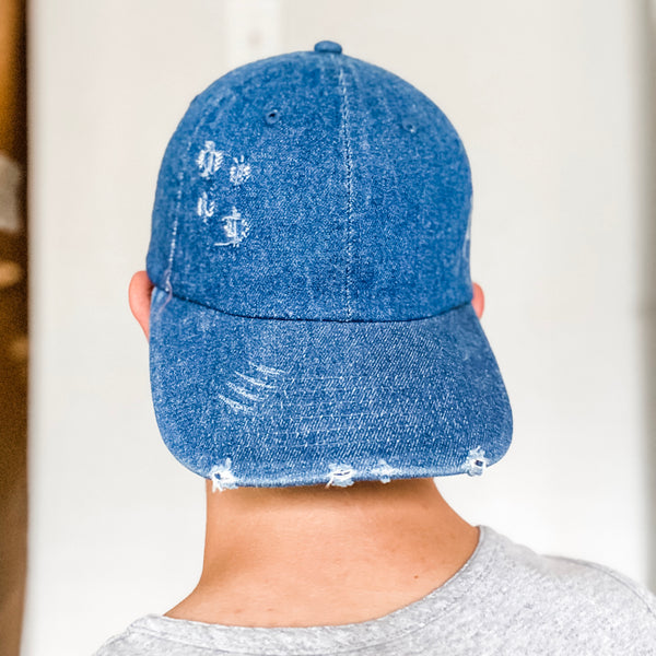Distressed Vintage Baseball Hat- Dark Blue Denim
