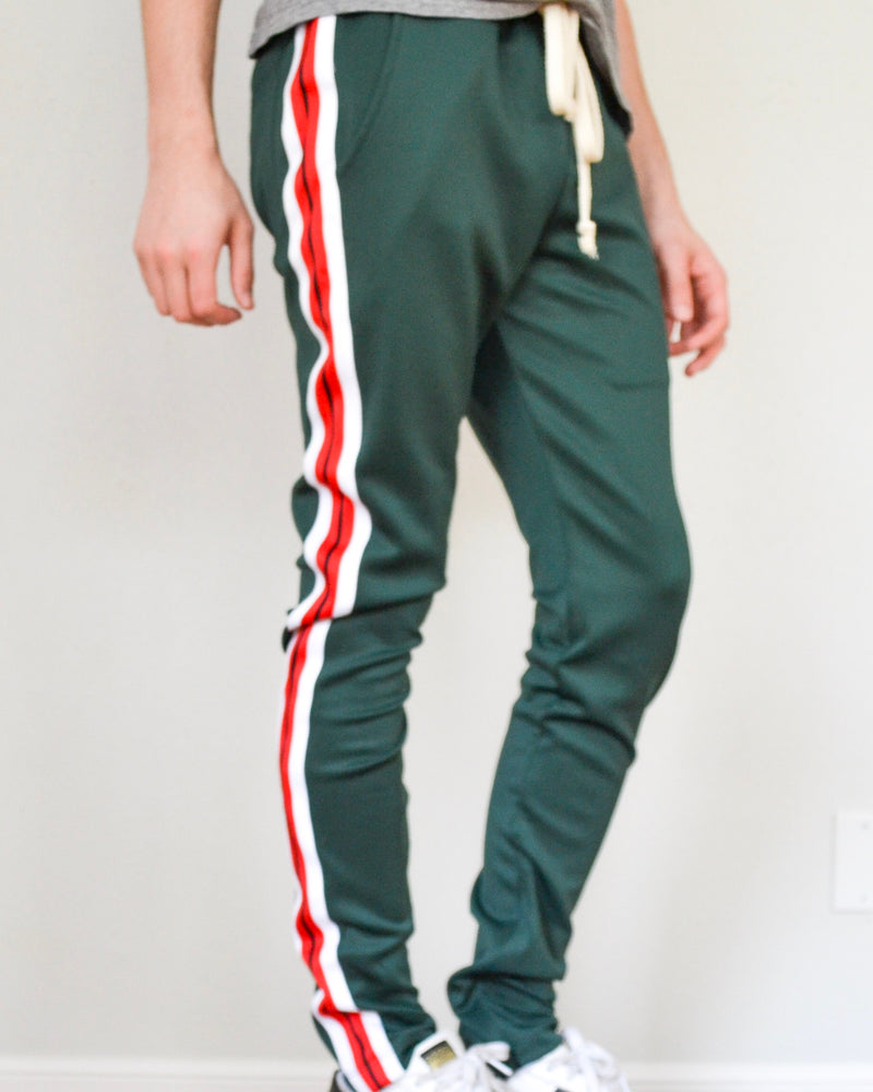 Striped Elastic Jogger- Green