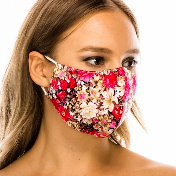 Cotton Face Mask: Rose Floral
