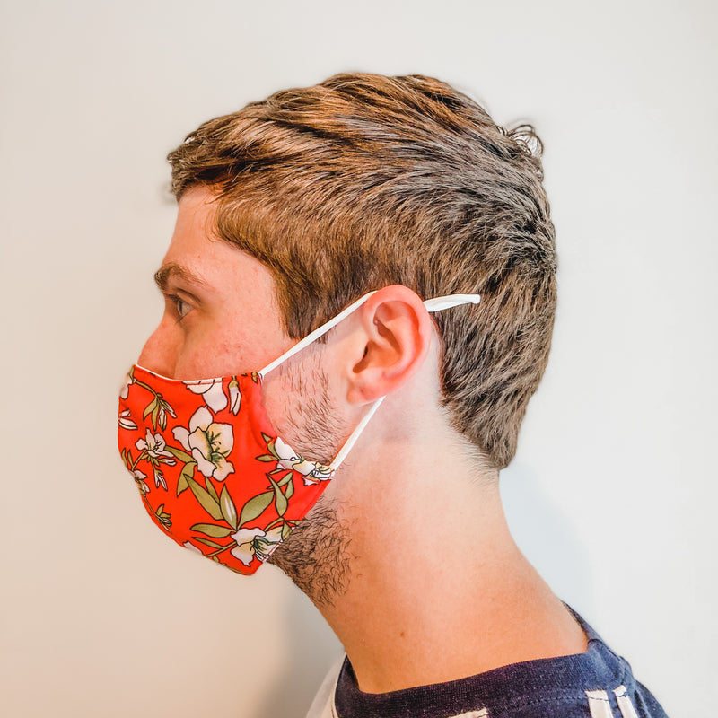 Face Mask: Red with Pop Floral
