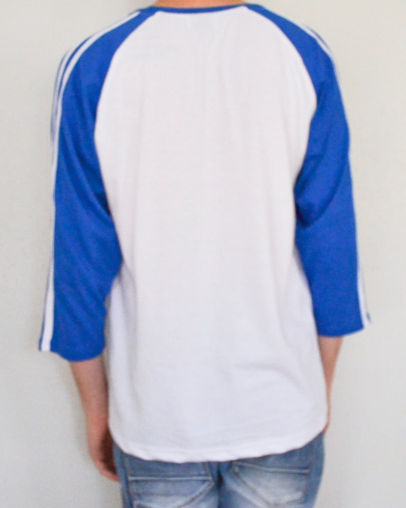 Striped Raglan Baseball Tee - White/Royal Blue