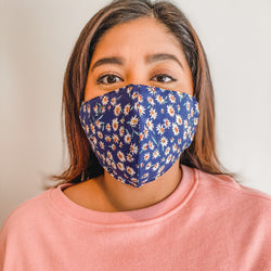 Face Mask: Navy with White Floral