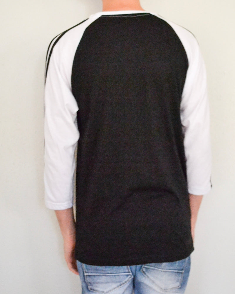 Striped Raglan Baseball Tee - Black/White