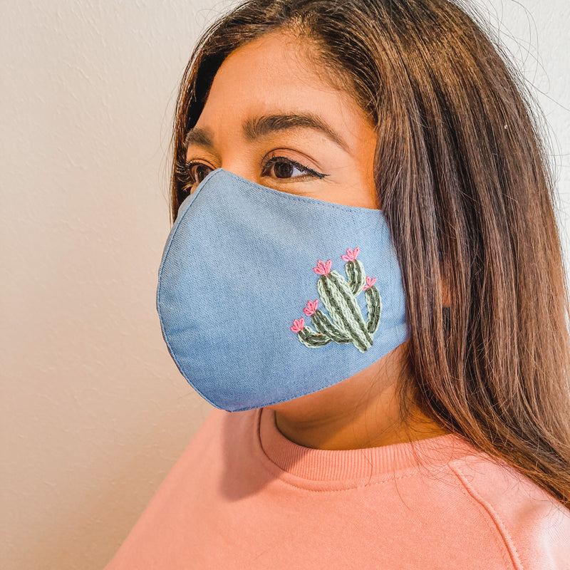 Embroidered Face Mask: Light Blue with Blooming Cactus