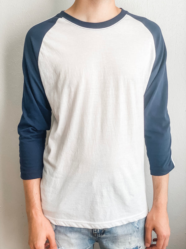 Striped Raglan Baseball Tee - White/Navy