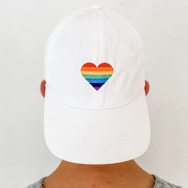 Rainbow Heart Embroidered Baseball Hat- White