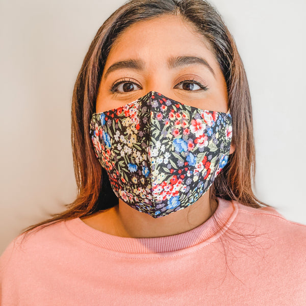 Face Mask: Black with Multi Color Floral