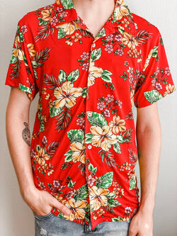 Floral Short Sleeve Button Down- Red