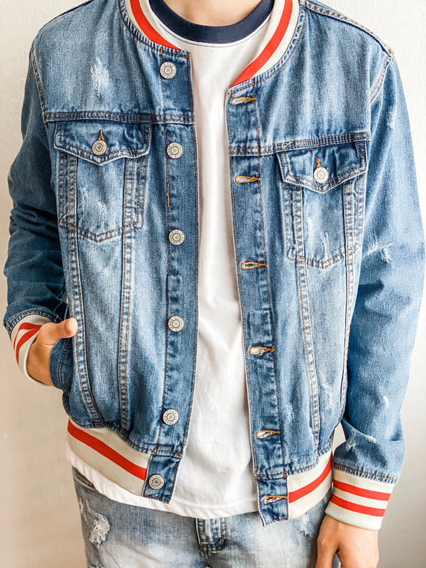 Striped Rib Denim Jacket