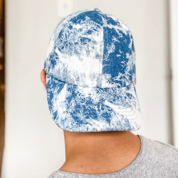 Vintage Tie Dye Denim Baseball Cap Hat- Dark Blue