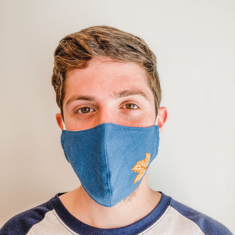 Embroidered Face Mask: Blue with Gold Leaf