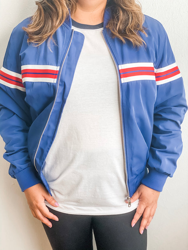 Striped Bomber Jacket- Blue