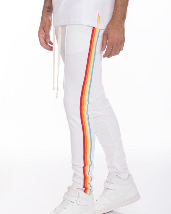 Striped Elastic Jogger- White/Rainbow
