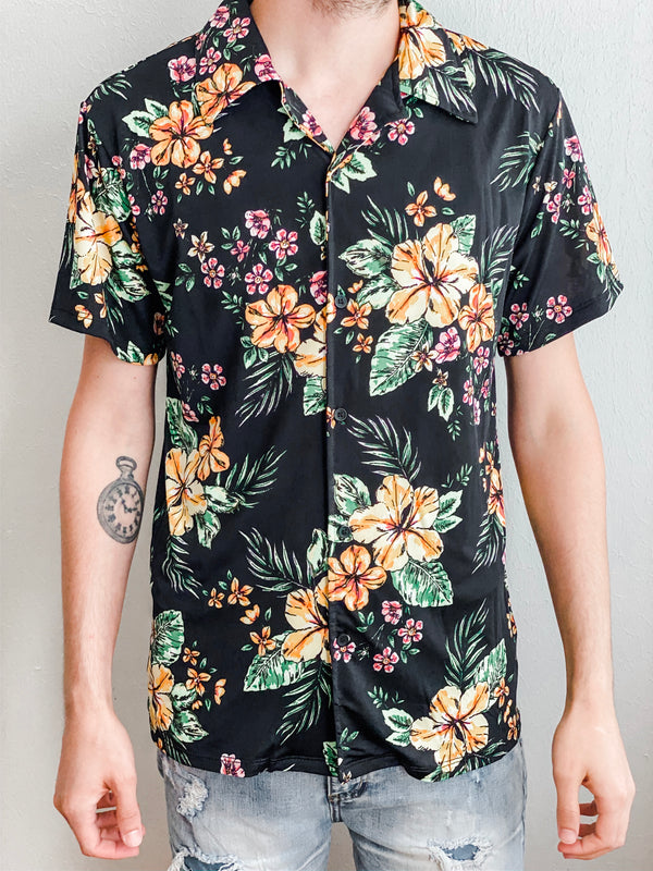 Floral Short Sleeve Button Down- Black