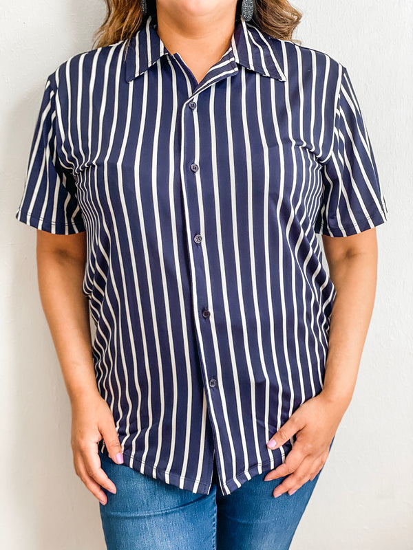 Vertical Pin Stripe Short Sleeve Button Down