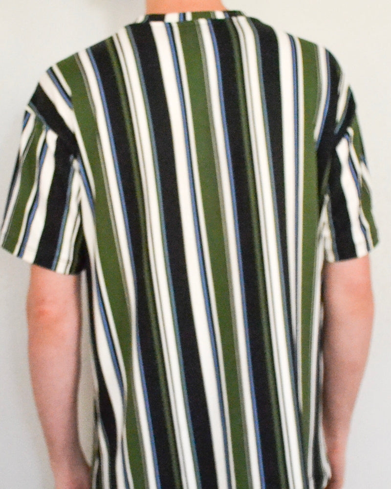 Vertical Striped Crew Neck Tee- Green