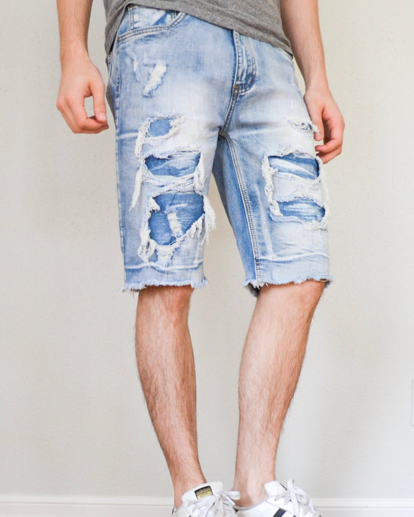 Distressed Light Denim Shorts