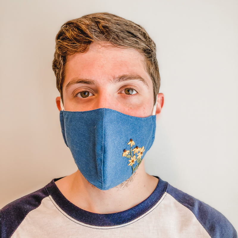 Embroidered Face Mask: Blue with Sunflower