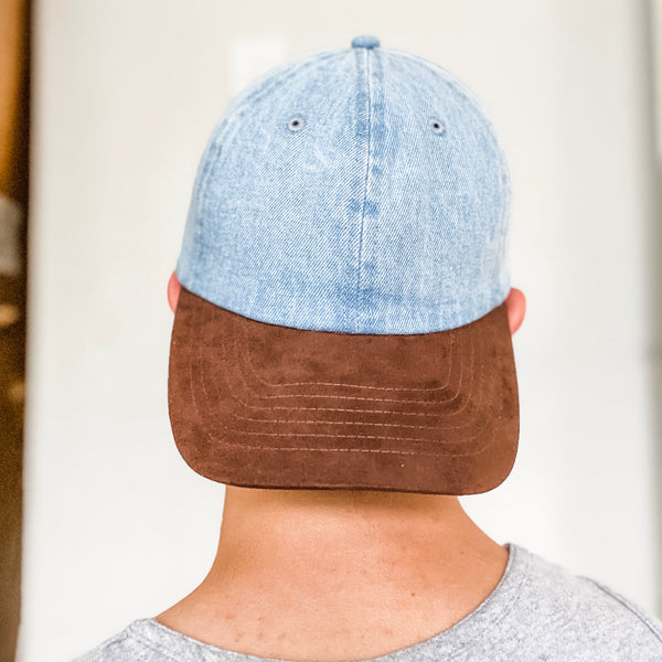 Brown Suede Visor Denim Baseball Cap Hat- Light