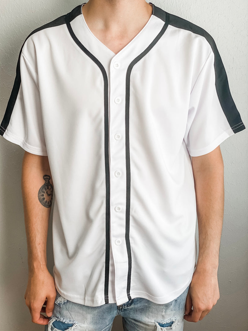 Solid Baseball Jersey - White/Black