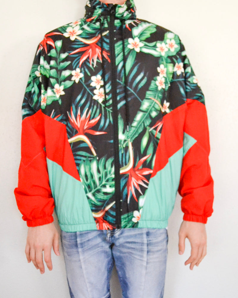 Nylon Jacket- Red Floral