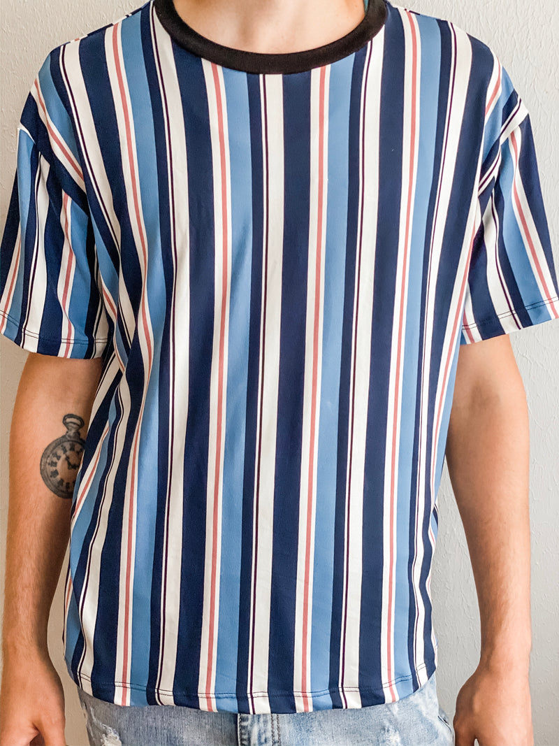 Vertical Striped Crew Neck Tee- Blue