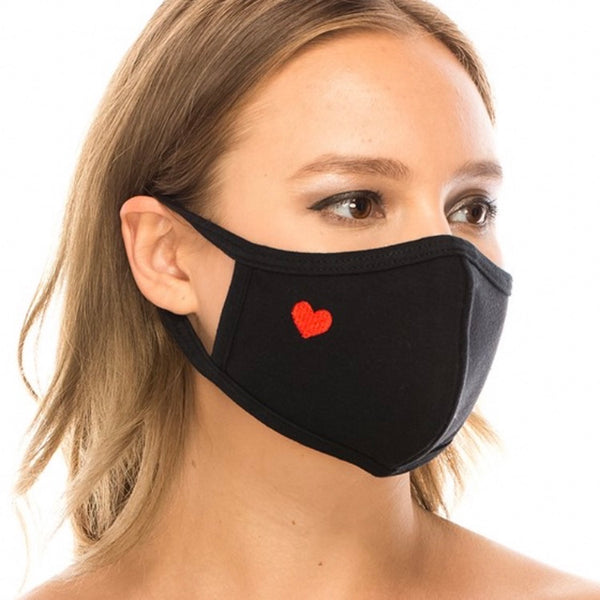 Cotton Face Mask: Black with Red Heart