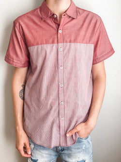 Two Tone Short Sleeve Button Down - Red