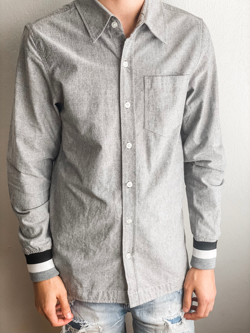 Oxford Ribbed Button Down- Gray