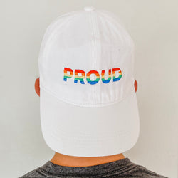 Proud Embroidered Baseball Hat- White