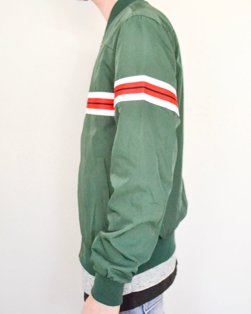 Striped Bomber Jacket- Green