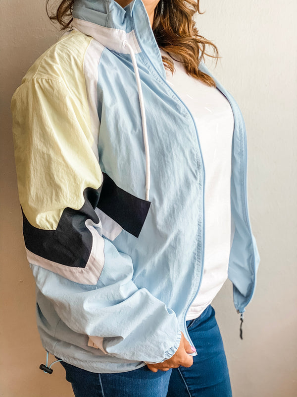 Nylon Jacket- Light Blue/Yellow/White