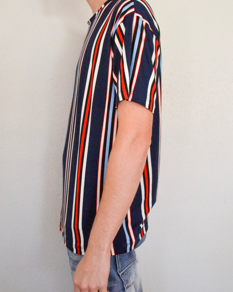 Vertical Striped Crew Neck Tee- Red