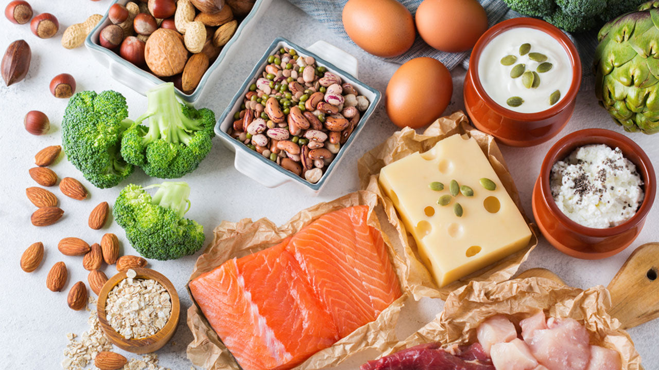 foods rich in protein on a white table
